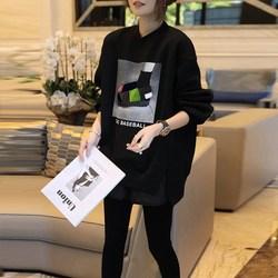 欧洲站2021春款女装新款欧货潮牌黑色印花卫衣打底衫加绒加厚上衣