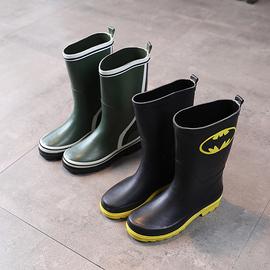 瑕疵春夏蝠蝙长筒男大童橡胶雨鞋蜘蛛侠男孩学生防滑厚底雨靴高筒