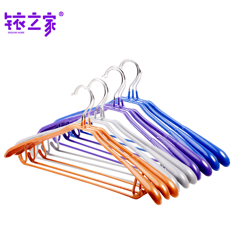Yj8001 iridium home dip plastic antiskid clothes hanger clothes hanging traceless clothes hanging pants rack wide shoulder suit clothes rack