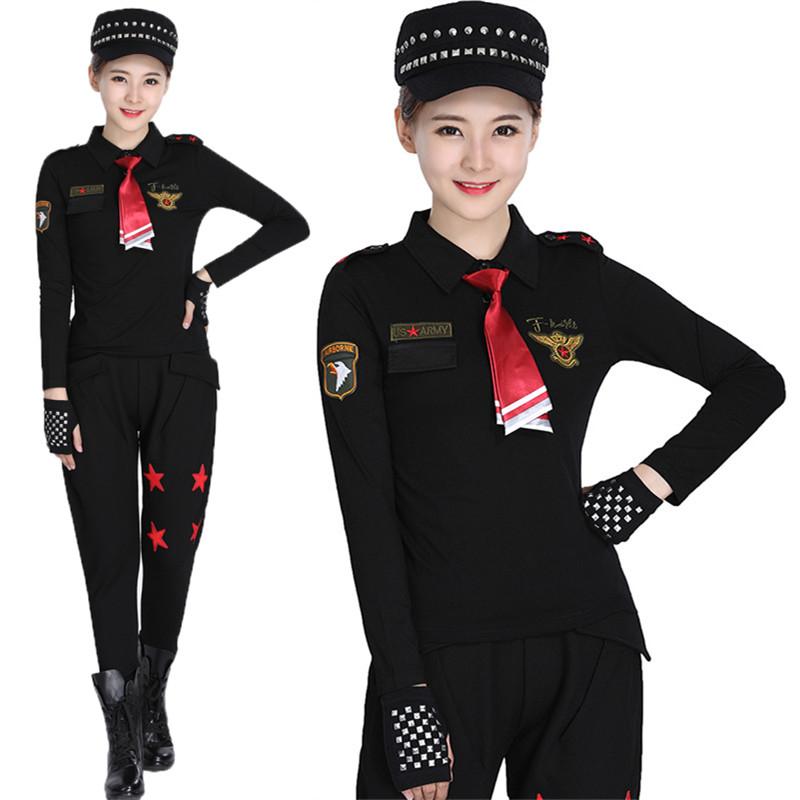 森林骑士正品水兵舞服装黑色长袖T恤女翻领老鹰袖章男女情侣上衣