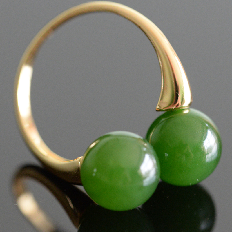 Ring woman natural Hotan jade Jasper suede jade Russian cats eye jade live mouth 925 pure silver 18K gold and silver inlay