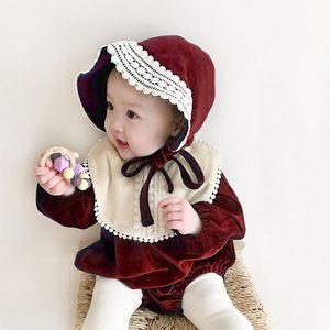 ins秋冬韩国婴儿加绒爬服百天周岁礼服女宝宝新年公主连体哈衣潮