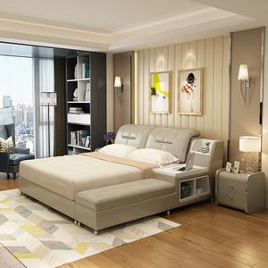 简约现代榻榻米皮床 1.5米1.8米单人双人床 皮艺软床婚床主卧家具