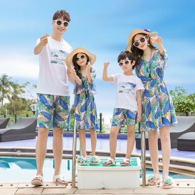 海边沙滩亲子装夏装一家三口四口母子母女连衣裙海滩度假休闲套装