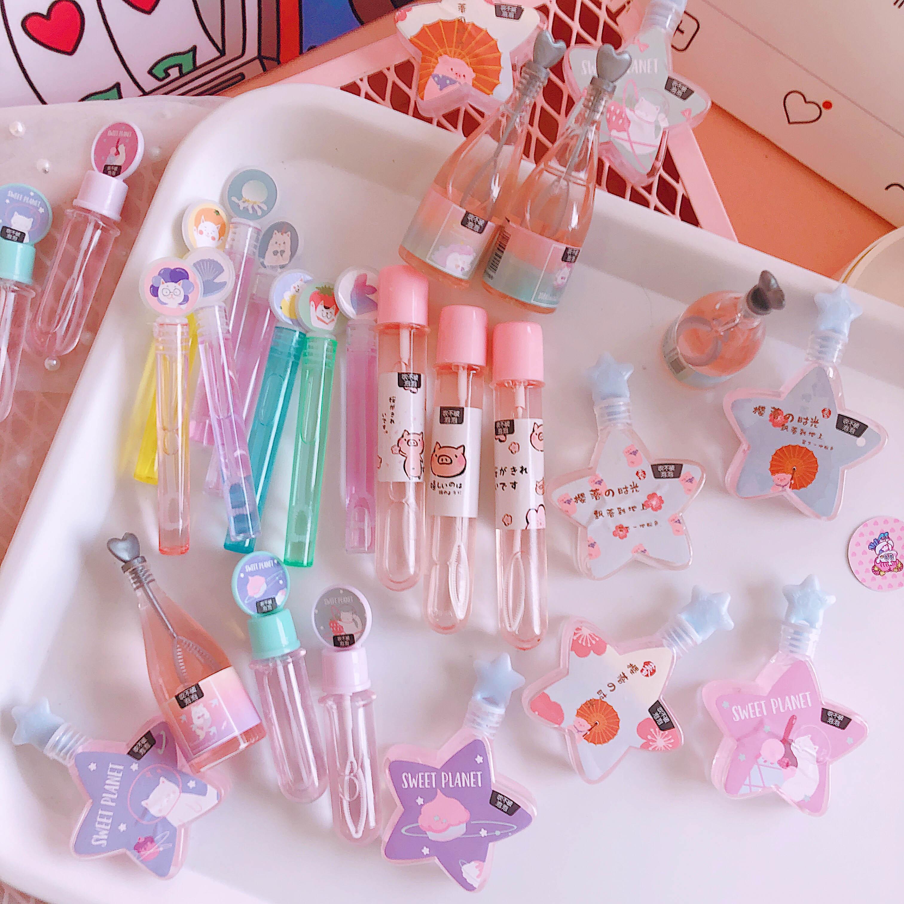日系卡通少女心迷你儿童泡泡水甜蜜星星小猪试管不易破吹泡泡玩具