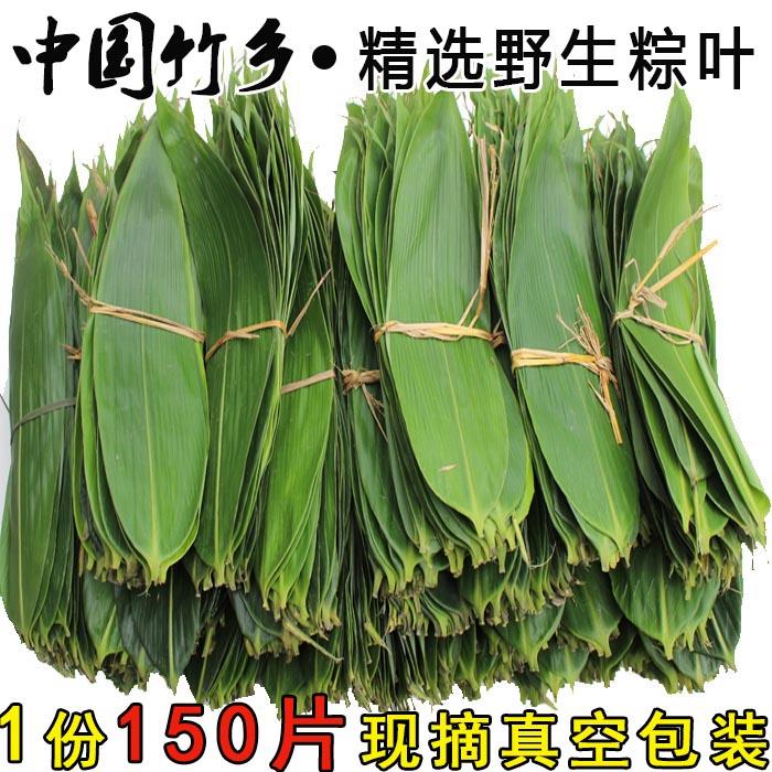 现摘 纯天然新鲜粽叶 干粽叶免邮 粽子叶 箬叶宽叶1份150片送棉线