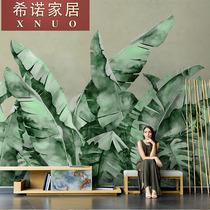 北欧手绘简约芭蕉叶壁纸现代植物壁画客厅电视背景墙纸无纺布墙布
