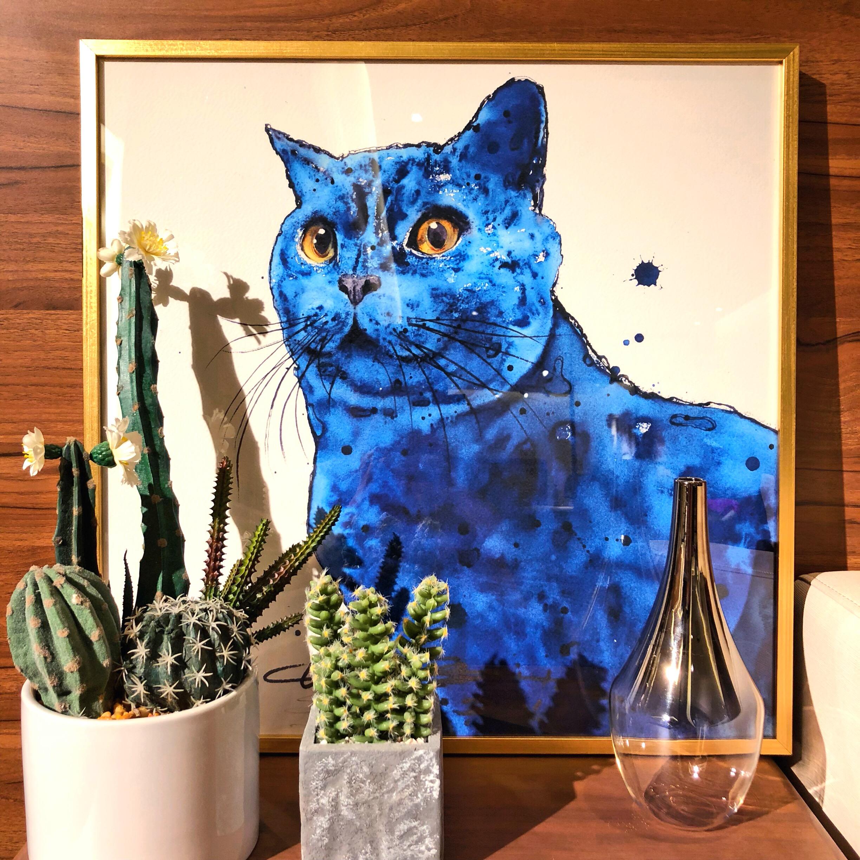 《蓝色的猫》装饰作品原创限量版高精度孙继成水彩艺术版画