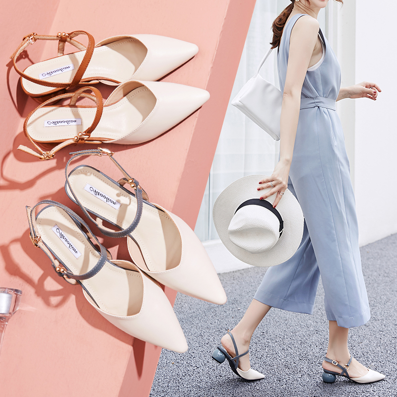 Summer 2020 new Xiannv style Baotou sandals female pointed middle heel gentle one word thick heel fashion shoes for women