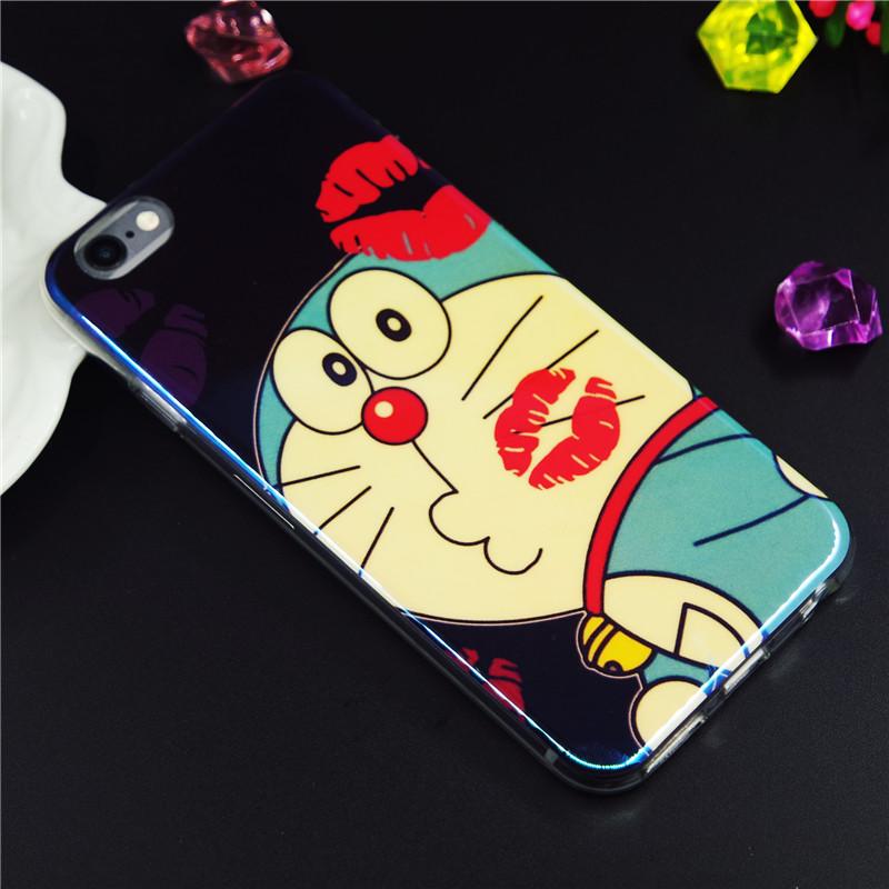 蘋果6plus鐳射藍光手機殼 iPhone6S哆啦A夢可愛i6叮當貓tpu保護套
