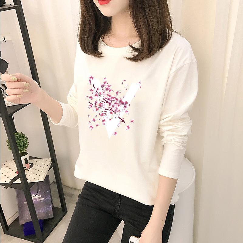 秋装2020新款印花长袖t恤女白色修身内搭秋衣打底衫紧身上衣新品