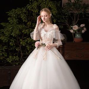 孕妇婚纱2021新款新娘森系超仙梦幻一字肩简约显瘦气质轻