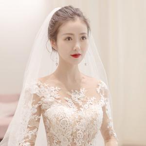 轻主婚纱2021新款新娘一字肩长袖大拖尾高腰孕妇简约大气