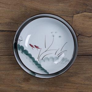 和風四季水墨江南釉下彩日式陶瓷圓盤湯盤 深盤子 菜盤 家用飯盤