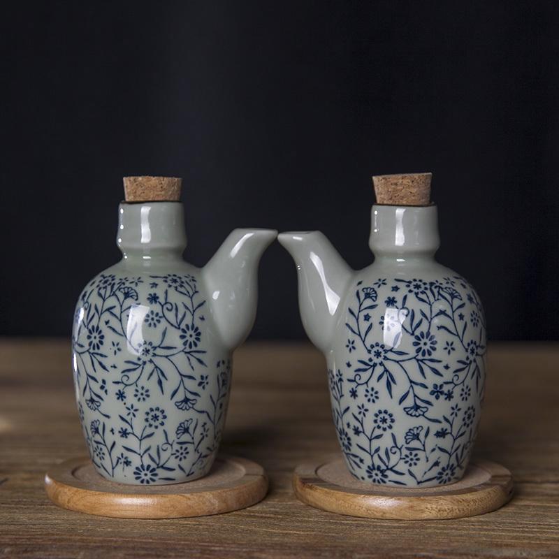 和风四季釉下彩日式陶瓷厨房餐具创意带塞调料瓶调味瓶酱油瓶醋瓶