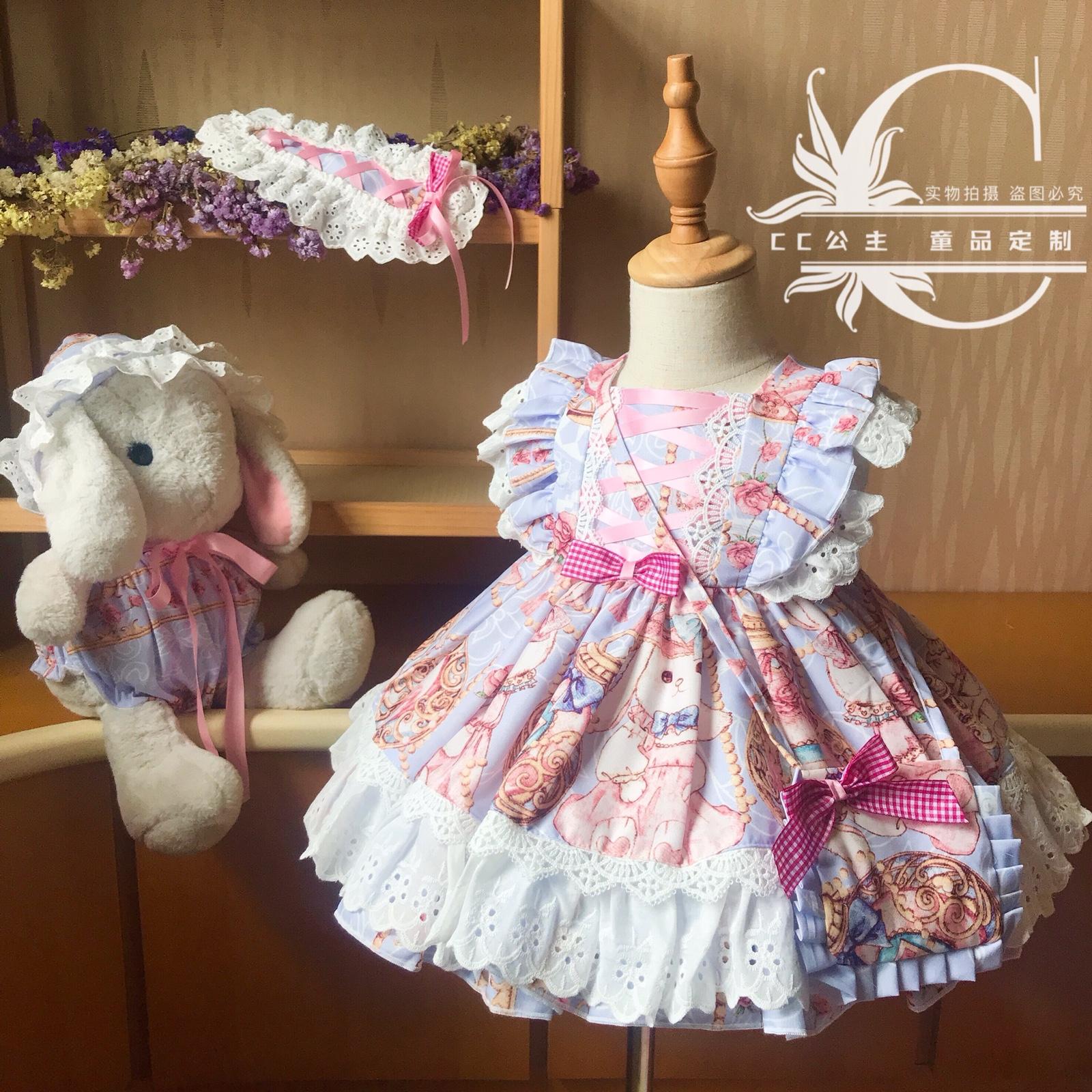 儿童洛丽塔洋装女童西班牙公主裙蓬蓬连衣裙宝宝周岁生日礼服裙秋限10000张券