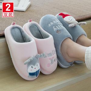 卡通可爱女秋冬季情侣家用室内棉鞋