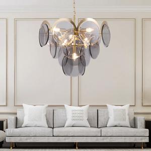 后现代创意烟灰圆形玻璃片客厅吊灯艺术卧室餐厅设计师样板房吊灯