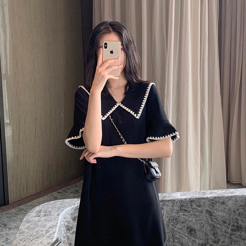2020春夏季新款女装宽松小香风连衣裙中长款女神范冷淡风小黑裙潮图片