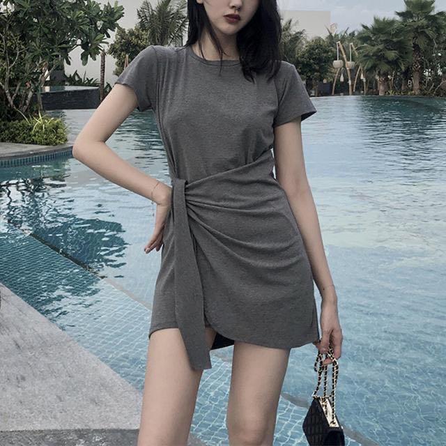 西装领复古连衣裙2020夏季新款韩版收腰气质显瘦格纹裙子女潮
