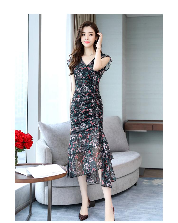 Fresh floral dress V-neck Chiffon Dress 2021 summer short sleeve long skirt print Pullover dress