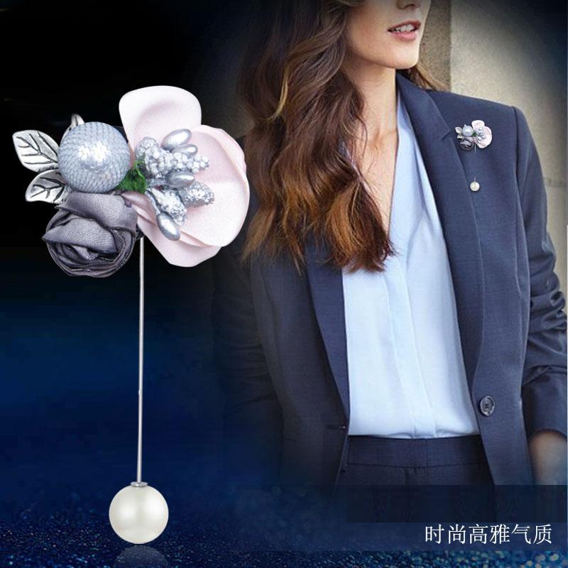 布艺花朵胸针长别针韩国时尚简约一字插针气质胸花女式外套配饰品