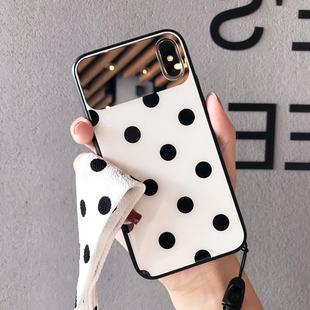 波点镜子适用苹果13pro max手机壳玻璃11挂绳iphone12网红女8plus