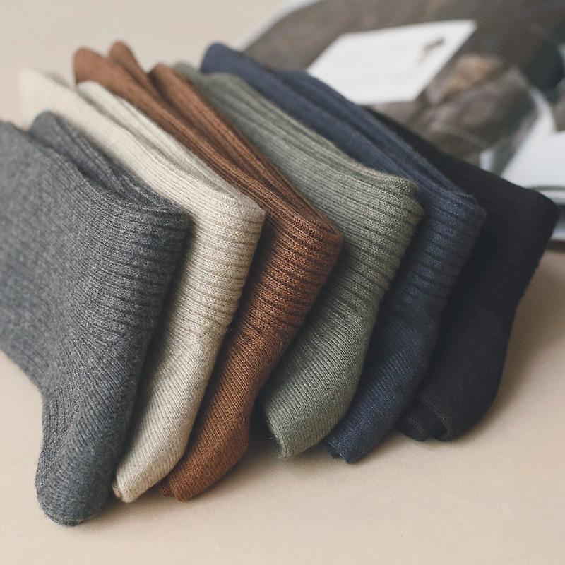 韩国条纹纯色羊毛袜子男绅士商务休闲中筒男袜秋冬季保暖简约短袜