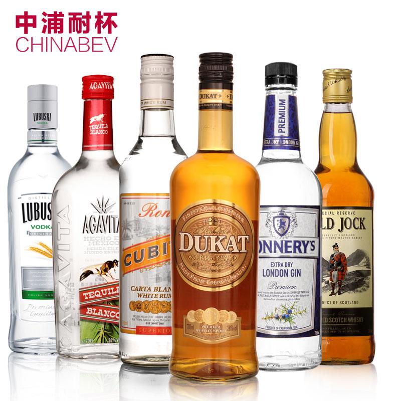 六大雞尾酒基酒調酒套裝白蘭地 威士忌伏特加 朗姆酒 金酒 龍舌蘭