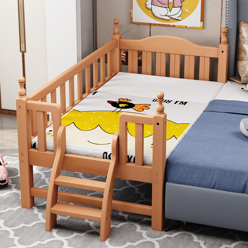 实木拼接带护栏加宽床边婴幼儿床