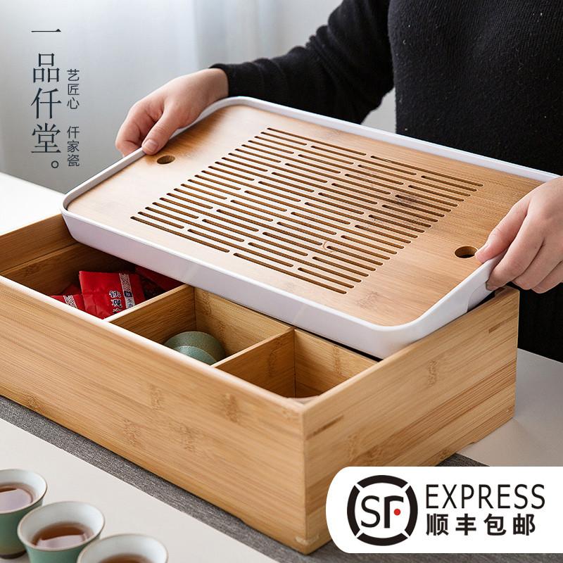 日式干泡大号茶盘功夫茶具套装家用简约托盘茶台茶海多功能收纳盒