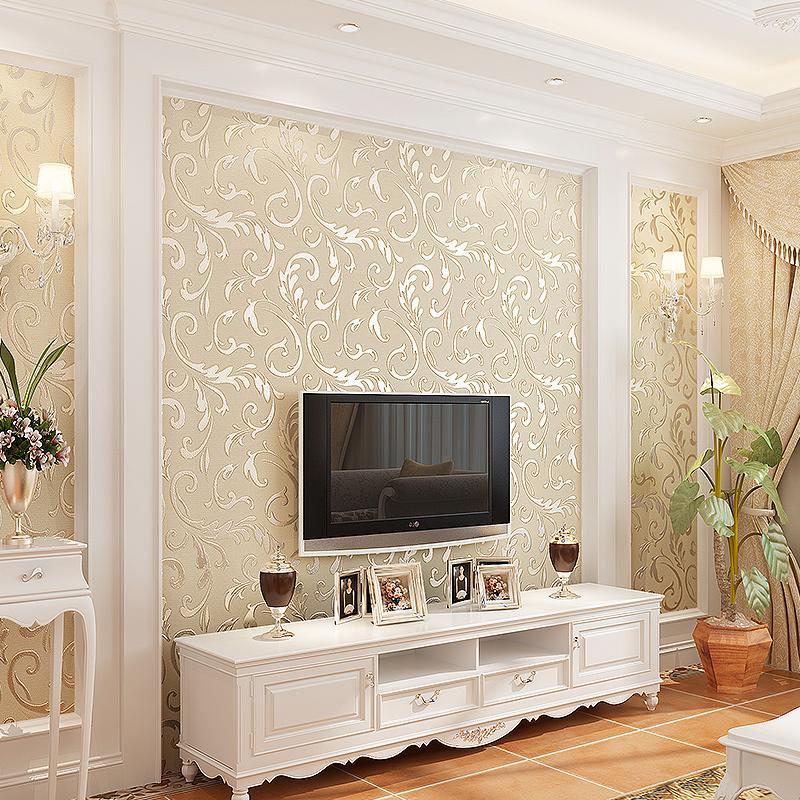 绿途 欧式无缝墙布简约现代壁布卧室客厅沙发电视影视背景墙壁布热销32件正品保证