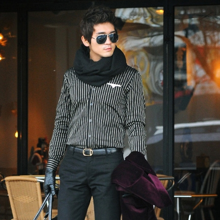 Korean business 2020 new mens handsome fashion stripe characteristic pattern long sleeve shirt 21903