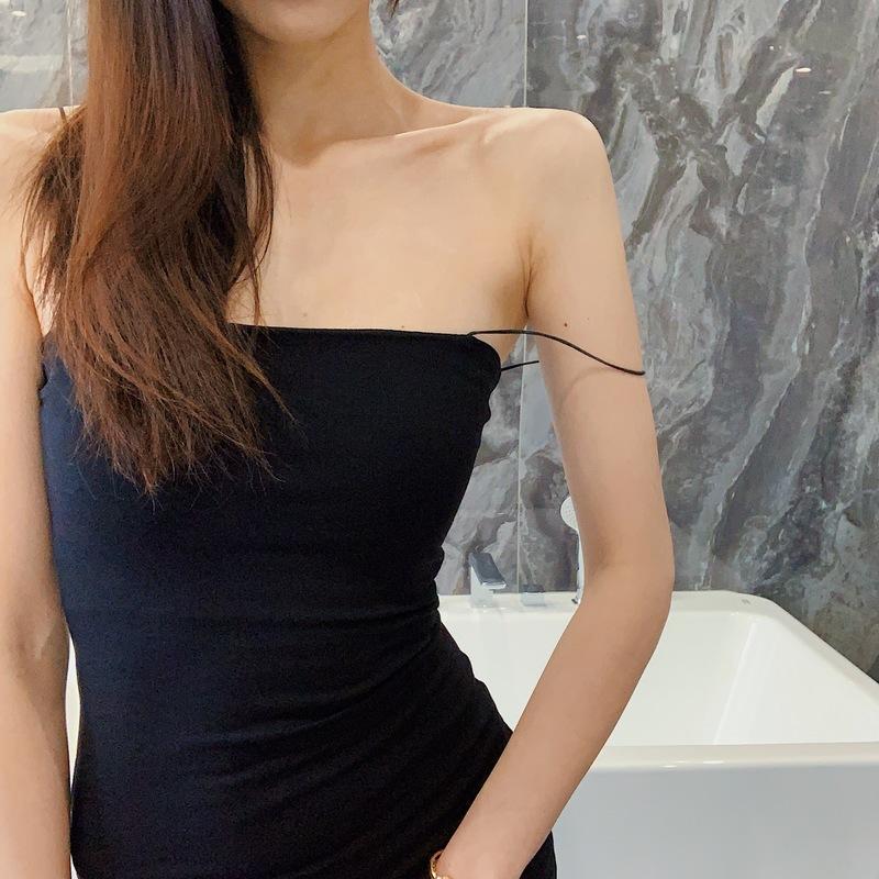 LIVIA2019春季欧美纯色皮筋包臀吊带裙女性感内搭打底紧身连衣裙
