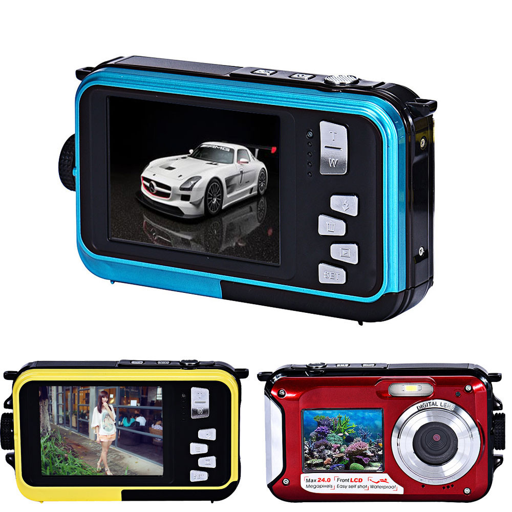 Bare metal underwater diving Digital Sports Camera 5 megapixel front and rear dual screen 4x zoom