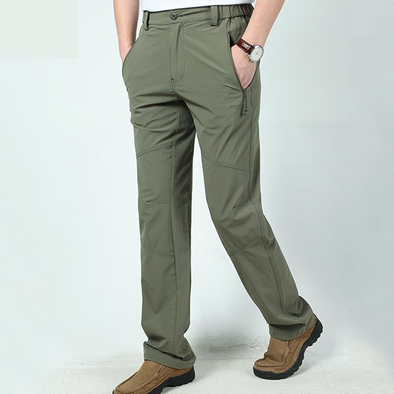 户外速干裤男装休闲裤子直筒弹力运动裤长裤春夏季薄款大码宽松