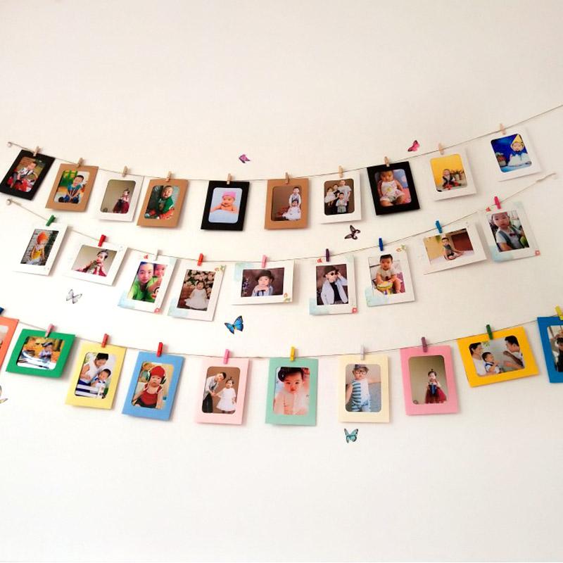 儿童生日派对布置6寸7寸情人节悬挂纸相框挂墙宝宝周岁创意装扮品