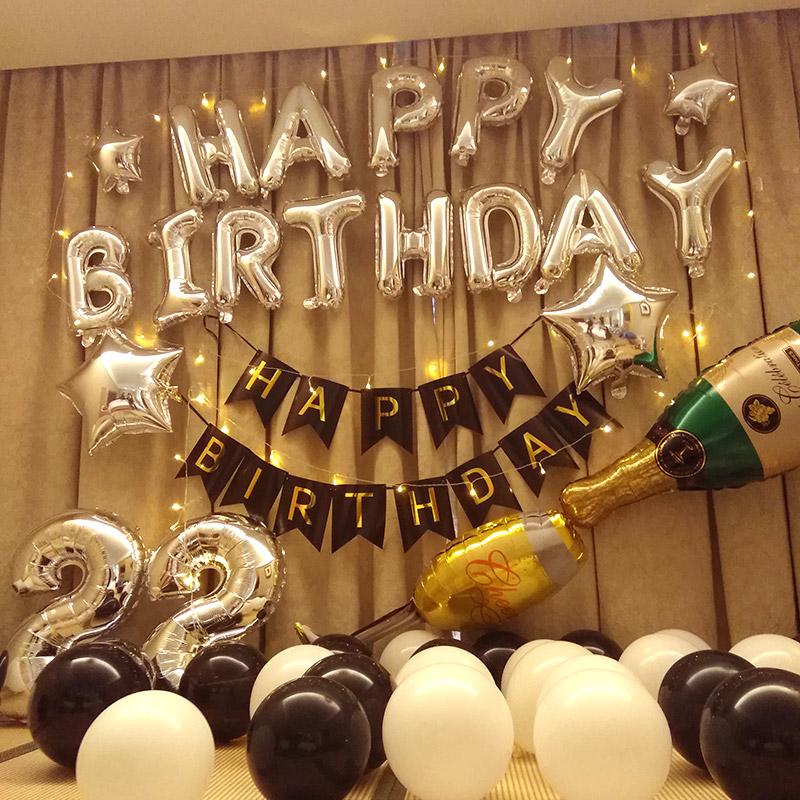 生日快乐派对趴体女孩男生惊喜场景布置背景墙气球男朋友装饰用品