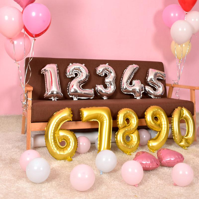 铝箔数字气球金银色0123456789生日派对装饰18寸中号铝膜气球布置2.00元包邮