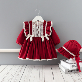 女童连衣裙冬装超洋气加绒女宝宝红色衣服婴儿周岁礼服生日公主裙图片