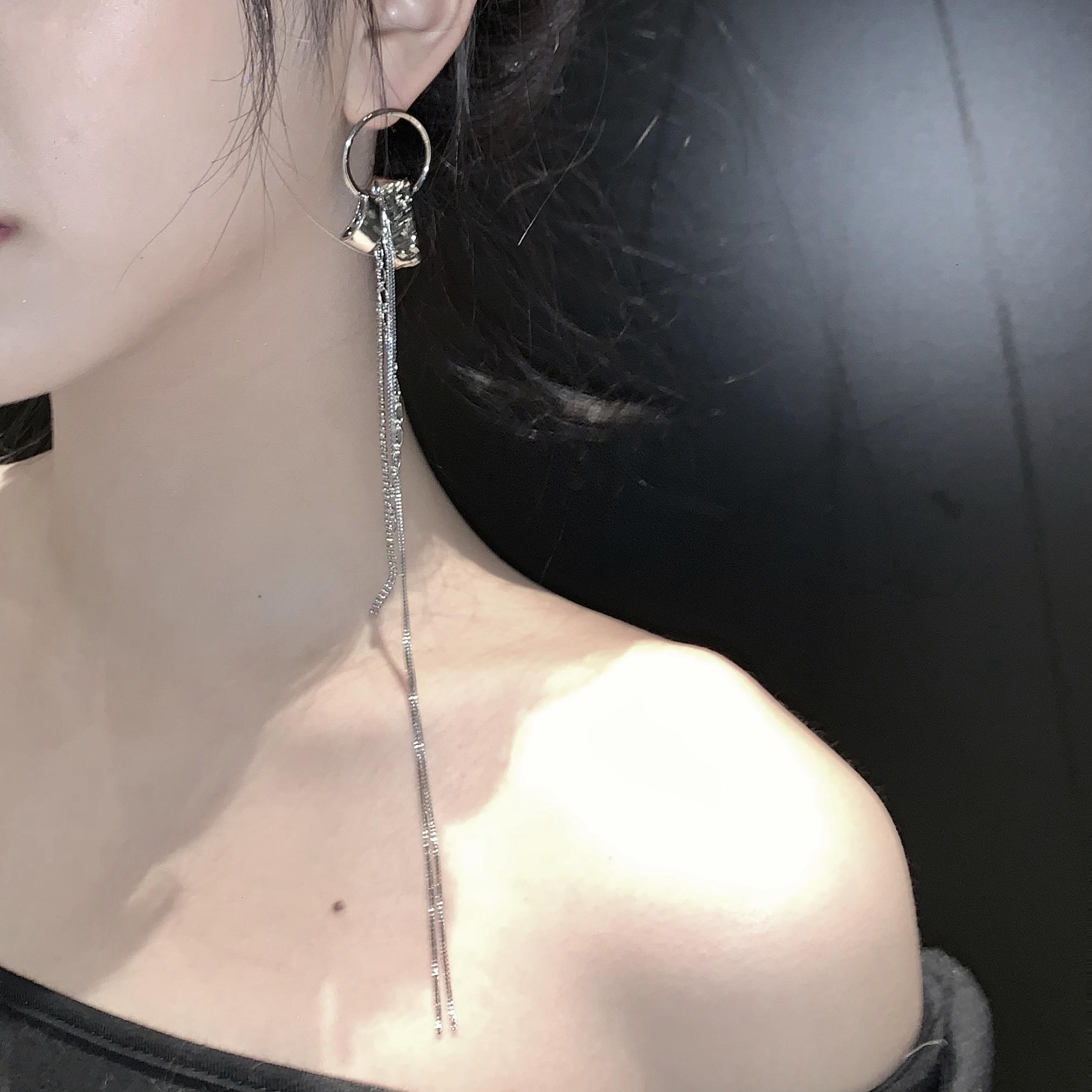 【scandium】很长的单只金属流苏耳环ins简约丝丝同款925银针