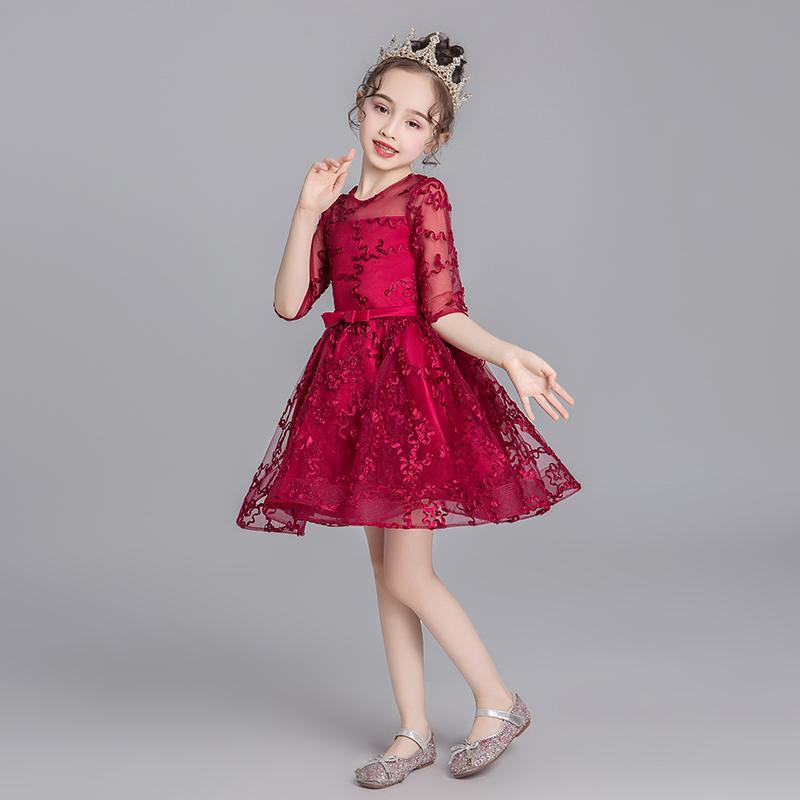 Váy dạ hội bé gái váy công chúa cao cấp pettiskirt bé hoa bé gái váy cưới 2019 khí chất mới quý phái mùa thu - Váy trẻ em