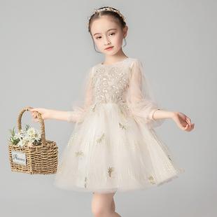 儿童公主裙小女孩蓬蓬纱花童婚纱晚礼服主持人女童钢琴演出服洋气