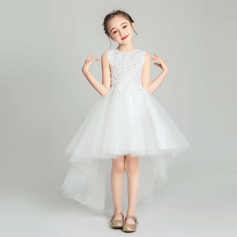 Váy dạ hội cho bé gái hoa công chúa váy bé gái đám cưới trắng kiểu tây trang phục mịn màng mùa hè mỏng - Váy trẻ em