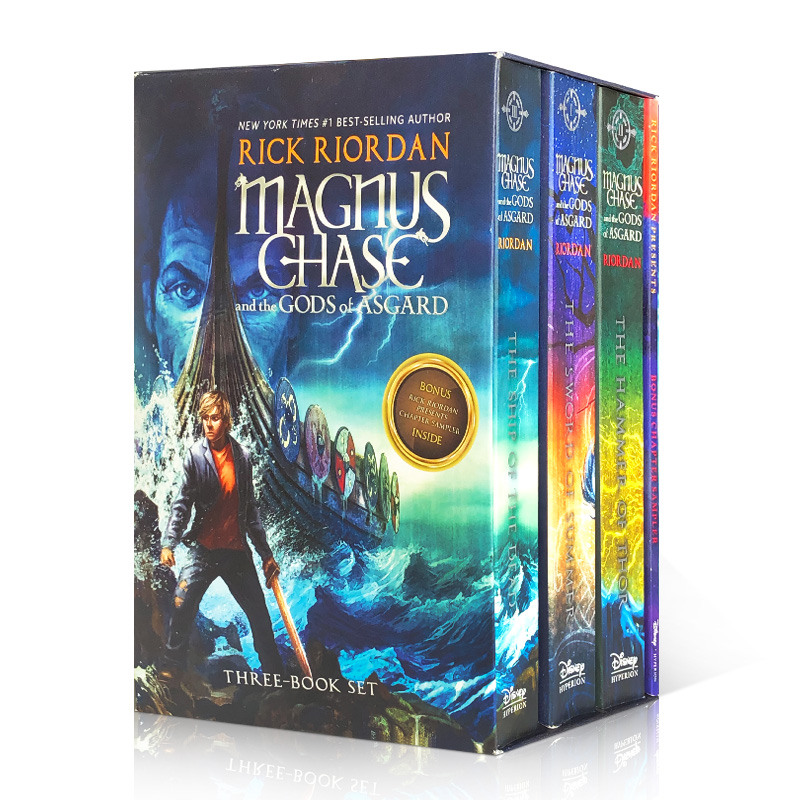 英文原版小说马格纳斯-蔡斯和阿斯加德之神Magnus Chase and the Gods of Asgard 3册盒装儿童课外阅读读物奇幻故事书进口平装书籍