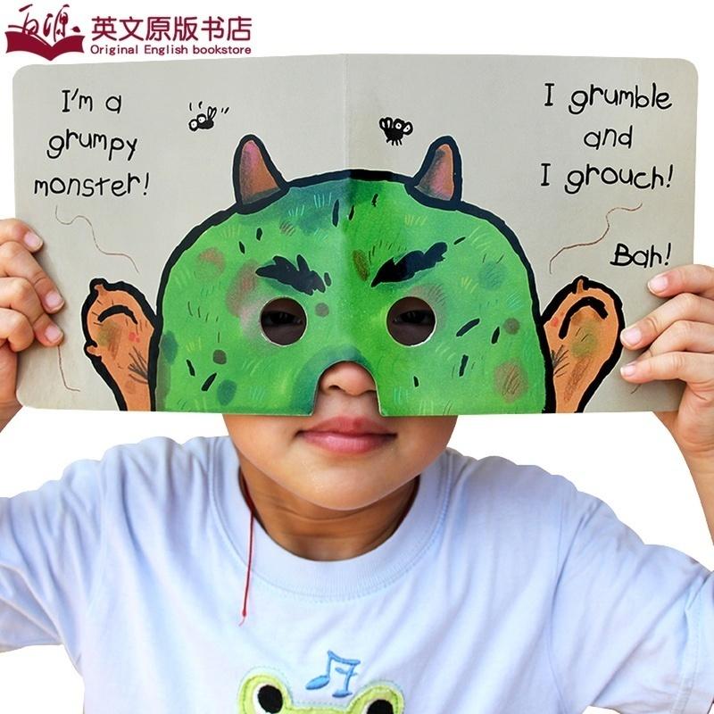 吴敏兰书单 Look At Me Mask I'm am A Monster 英文原版学前教育趣味面具洞洞纸板书 英语提升学习乐趣亲子玩具培养行动力创造力