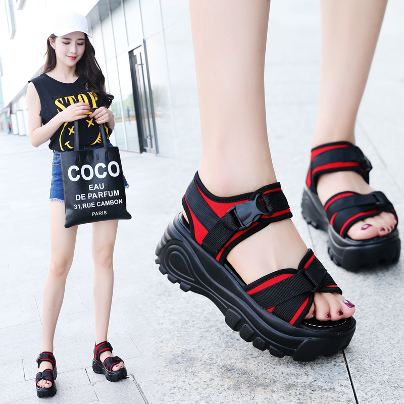 Thick soled sandals women 2020 summer slope heel muffin shoes new Korean casual sports sandals student Roman rocking shoes