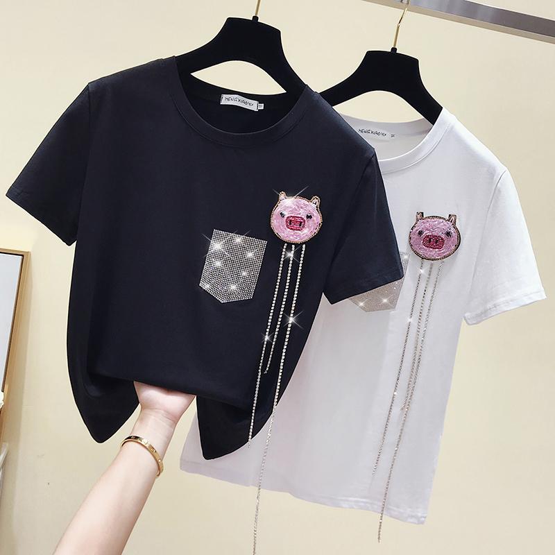 纯白色女士T恤钉珠镶钻重工短袖2019夏季新款中长款简约猪猪上衣