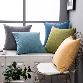纯色亚麻沙发抱枕靠垫客厅靠枕床头大号靠背抱枕套不含芯棉麻定制