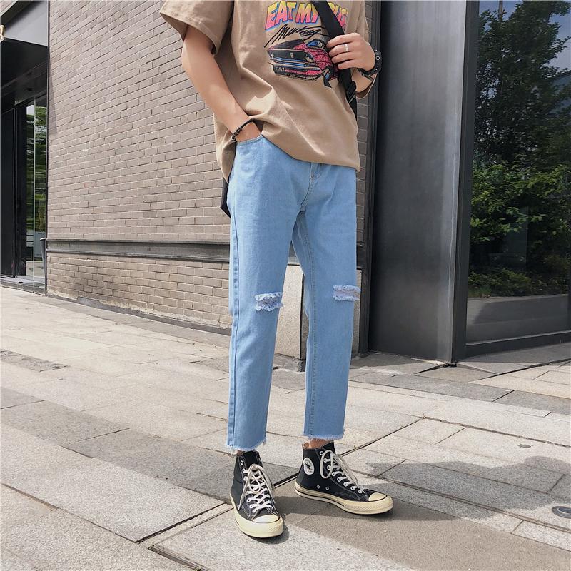 券后29.90元夏季破洞韩版潮流宽松直筒牛仔裤